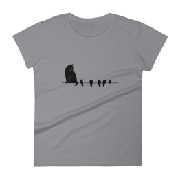Cat and Birds Women's Fashion Fit t-shirt